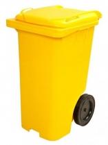 Lixeira basculante 240 L C/Roda  e pedal amarela