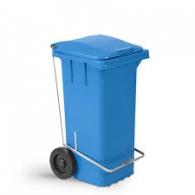 Lixeira basculante 240 L C/Roda e pedal azul