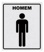 Placa P/WC Homem 14X15 Alumínio