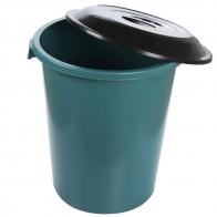 Lixeira 97 L  verde C/Tampa basic preta plasnew